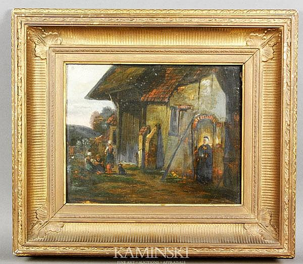 19th C. Italian School, Cottage Scene, O/P
