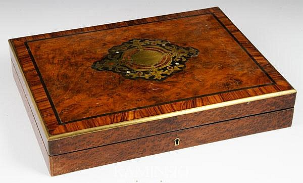 19th C. Burlwood Game Box
