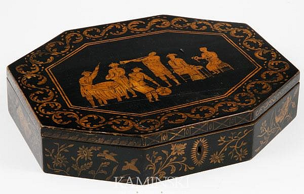 19th C. English Lacquered Game Box
