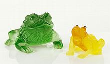 Two Glass Toads  (One Lalique)