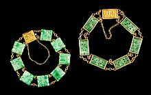 Two Gold and Jade Bracelets