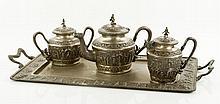 Indian 19th C. Silver Repousse Tea Set