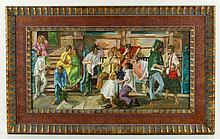 Singer, Street Scene, Oil on Canvas
