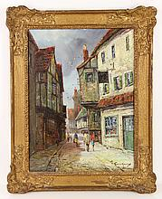 Kennedy, High Street in Falmouth, Oil on Board