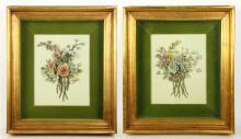 Pr. Mottahedeh Design Framed Porcelain Flowers