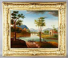 19th C. French Landscape, O/C