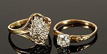 Lot of Two 14K Diamond Rings