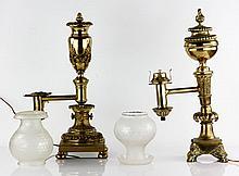 19th C. Pair of Oil Lamps