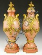 Pair Pink Marble Mantle Decorations