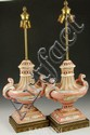 Pair of Pink Porcelain Lamps