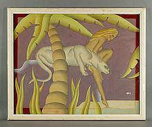 Kaitz, Art Deco Nude and Panther, W/C