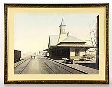 Dergalis, Architectural Painting of Train Station, W/C