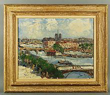 Mid 20th C. French, Seine River, O/C
