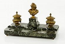 19th C. Bronze and Marble Inkwell