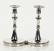 Pair Early Austrian Silver Candlesticks