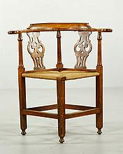 18th C. American Chippendale Country Corner Chair