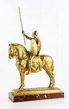 19th C. French Gilt Figure on Horseback, Bronze