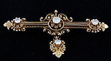 14K Diamond Etruscan Style Brooch