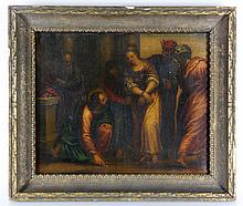19th C., Jesus and the Woman Taken in Adultery, O/C
