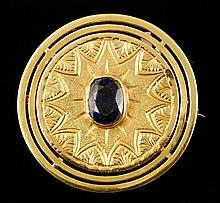 18K Gold and Sapphire Pin