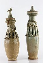 Pair of Chinese Covered Urns