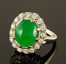 14K White Gold Jade and Diamond Ring