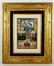 Early 17th C. Spanish School, Holy Family, Gouache on Vellum