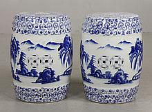 Pr. Chinese Blue and White Garden Stools