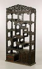 Chinese Export Black Teak Wood Cabinet