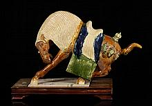 Tang Dynasty Style Polychrome Ceramic Horse