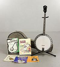 Vega Four String Banjo with Case and Books