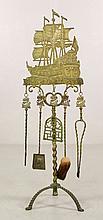 19th C. Dutch Brass Fireplace Tools