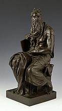 19th C. German Bronze After Michelangelo, Moses