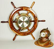 Ship's Wheel Clock and Clock Helmet