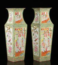 Pr. Chinese Rose Medallion Porcelain Vases