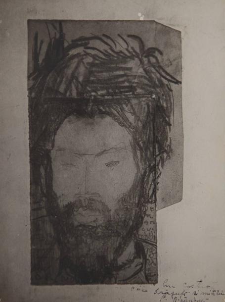 Constantin BRANCUSI (1876-1957).Portrait de Brancusi par Amedeo Modigliani, 1909.Épreuve argentique d'époque sur papier fort, réalisée par Constantin Brancusi, représentant le dessin de Modigliani, aujourd'hui perdu.Signature originale et envoi à