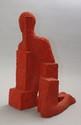 Patrick CONZETT (né en 1960)  Homme à genou.  Béton peint rouge.  Signé.  H. : 58 cm.  Accident et petits éclats.