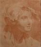 Entourage de GREUZE  Tête de jeune femme au bandeau  Contre épreuve de sanguine.  34,7 x 30 cm.  Dans un cadre ancien en bois sculpté et doré.