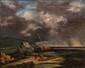 Ecole ANGLAISE du XIXème siècle  Rivage.  Huile sur toile.  21,5 x 25,5 cm.  Signée en bas à gauche : A. Wartur ( ?)    Voir la reproduction