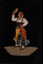 Ecole ALLEMANDE du XXème siècle.  Homme à la cornemuse et Femme au tambourin.  Paire de pietra dura.  24 x 17 cm.    Voir la reproduction