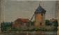 Edmond PETITJEAN (1844-1925)  Moulin et maison.  Huile sur carton entoilé.  14 x 23,5 cm.        Voir la reproduction