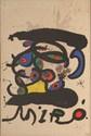 Joan MIRO (1893-1983). Peinture sur papier et dessin, 1971. Affiche avant la lettre. Lithographie sur velin d'Arches en couleurs, épreuve signée et numérotée 10/150. 83 x 56.5 cm à vue. Très bon état. (Galerie Maeght 737). Provenance : Achat Galerie