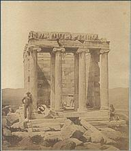 James ROBERTSON & Felice BEATO. 1855 or 1856. Temple of Athena Nike, two men (one with traditional costume - evzonas) and a boy. Rare photo from the period of the cooperation of the two famous early photographers.