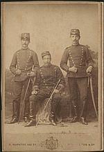 Π. ΜΩΡΑΙΤΗΣ ΚΑΙ ΣΙΑ - P. MORAITES & CO. albumen cabinet photo depicting three young men in uniforms of the Greek Army, 10.5cm x 14 cm, on passe-partout with nice photographers sign of studio in Athens