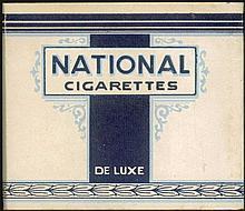 NATIONAL CIGARETTES De Luxe. Original empty carton packet for 20 cigarettes. Size: 9x8x2cm. Fine.