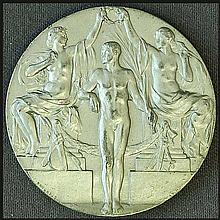 Stockholm Olympic Games 1912. Medal Proof. 33mm. Face: Herald standing next to bust, rev: Two women figures holding wreath over athletes head. Inscr.: