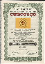 Manufacture de Tabacs et Cigarettes CAMCONGO, Action de 1000 Francs cONGOLAIS Au Porteur, No 013748, issued 15 June 1954 in Belgian Congo, complete with attached dividend coupons numbered from 1 to 60