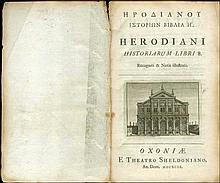 ΗΡΟΔΙΑΝΟΥ ΙΣΤΟΡΙΩΝ ΒΙΒΛΙΑ Η / HERODIANI HISTORIARUM LIBRI 8. Recogniti & Notis illustrati Oxford, Sheldon, 1699.