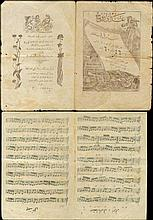 4 sheets of Ottoman music, with printed notes & lyrics.
