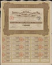 Societe Anonyme des TABACS dORIENT & dOUTRE MER / Action de CENT FRANCS au Porteur / No. 330,592 share, issued in Paris, 5.3.1928, complete with coupons numbered from 10 to 40. VF.